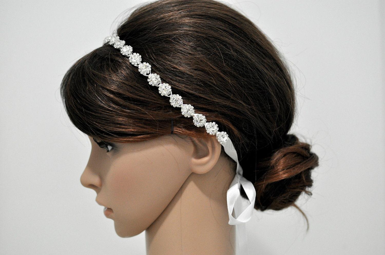 rhinestone ribbon headband wedding headpiece rhinestone