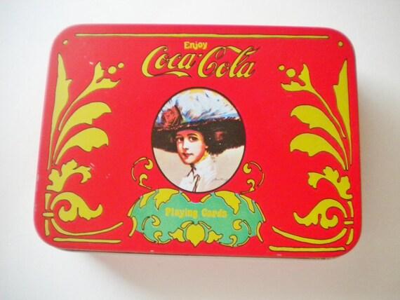 Vintage Coca Cola Cards in Tin Box. Full Set.