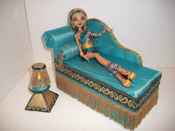 Furniture for Monster High Dolls Handmade Chaise Lounge Bed for Nefera with Bolster Pillow Pyramid Table and Working Lamp