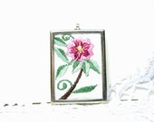 Pink  Flower  necklace - Embroidered Jewelry -Fabric Necklace-  Vintage Style - free gift