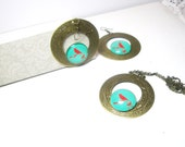 Bird On Branch Set  Necklace & Earrings Gift For Her Under 45  -sale