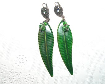 50% off SPECIAL  - Leaf Earrings -Green leaf earrings