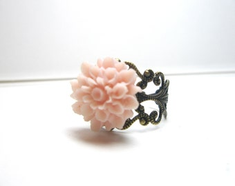 Pink Dahlia Flower  Ring -beige flower-Vintage Style Ring- Antique ,Brass ,Filigree, Adjustable -Free Gift With Purchase