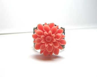 Pink orange  Flower Ring Vintage Style Ring Antique Brass Filigree Adjustable