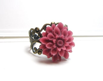 Flower Ring Vintage Style Ring Antique Brass Filigree Adjustable