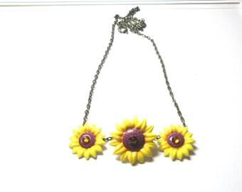 Sunflower necklace - flower necklace- Sunflower ring- sunflower bobby pins- sunflower comb