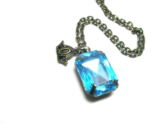 Aqua  Blue  Crystal Pendant necklace  - Gift for her under 20 and  Free gift