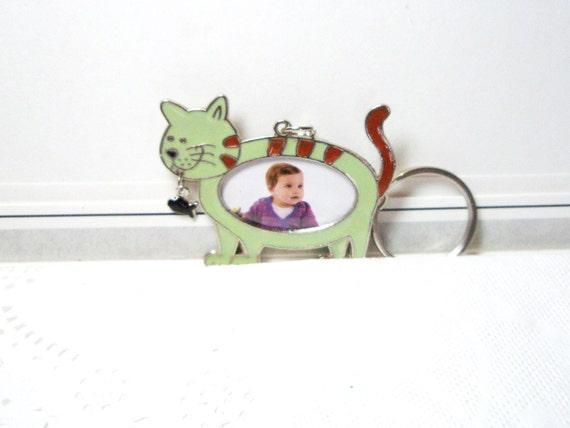 Cat Photo Vintage  Keychain Bag Charm