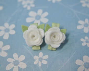 Wool Felt Flower Clips - Set of Two White Flower Clips - 100% Pure Wool Felt -Toddler Clips- Girls Hair Accessory - Itty Bitty Clips IBC2WRR