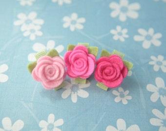 Tiny Wool Felt Flower Clips - Set of 3 Pink Flower Clips - Pure Wool Felt - Toddler Clips - Girls Hair Accessory - Itty Bitty Clips IBC1108