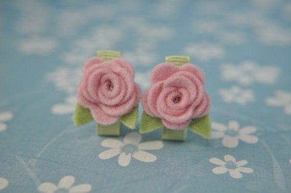 Wool Felt Flower Clips - Set of Two Baby Pink Flower Clips- 100% Pure Wool Felt -Toddler Clip- Girl Hair Barrette- Itty Bitty Clips IBC2BPRR