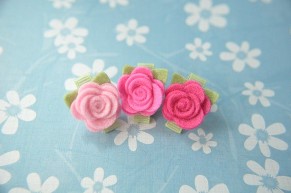 Tiny Wool Felt Flower Clips - Set of 3 Pink Flower Clips - Pure Wool Felt - Toddler Clips - Girls Hair Accessory - Itty Bitty Clips IBC1108