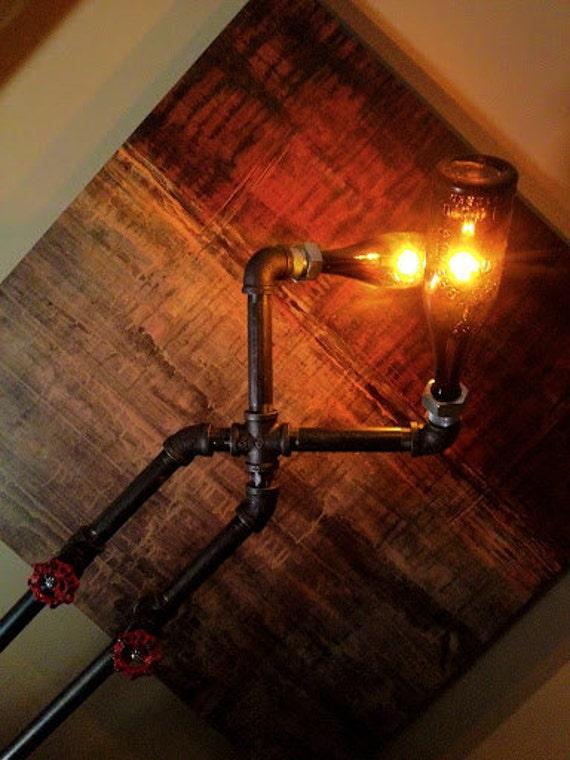 Floor Lamp - Vintage Bottle - Pipe Fixture - Steampunk Lighting