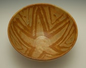 Ceramic Bowl with Star Glaze Design in Orange and Yellow  Stoneware, Soup, Salad, Handmade, Geometric, Art Pottery