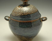 Small Ceramic Lidded Jar, Blue Brown and White Crackle Glaze, Stoneware, Sugar Jar, Dome Lid, Coil Handles, Art Pottery, Unique, Original