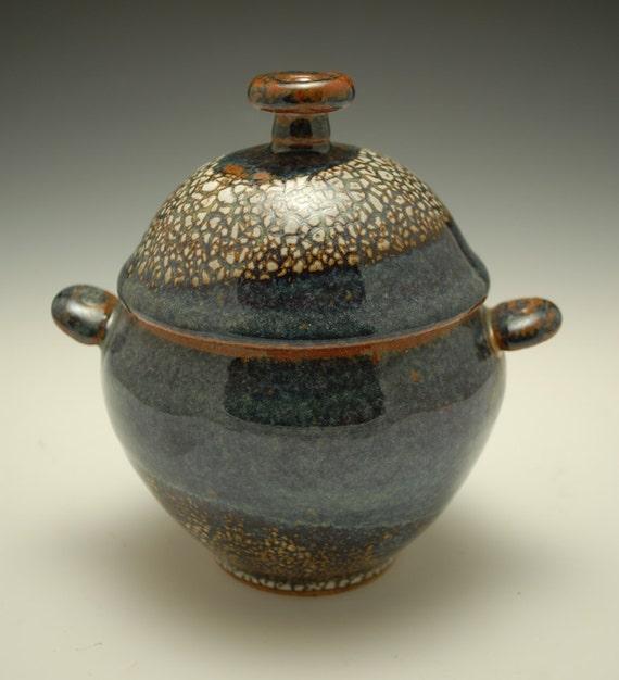 Small Ceramic Lidded Jar, Blue Brown and White Crackle Glaze, Stoneware, Sugar Jar, Dome Lid, Coil Handles, Art Pottery, Unique, Original