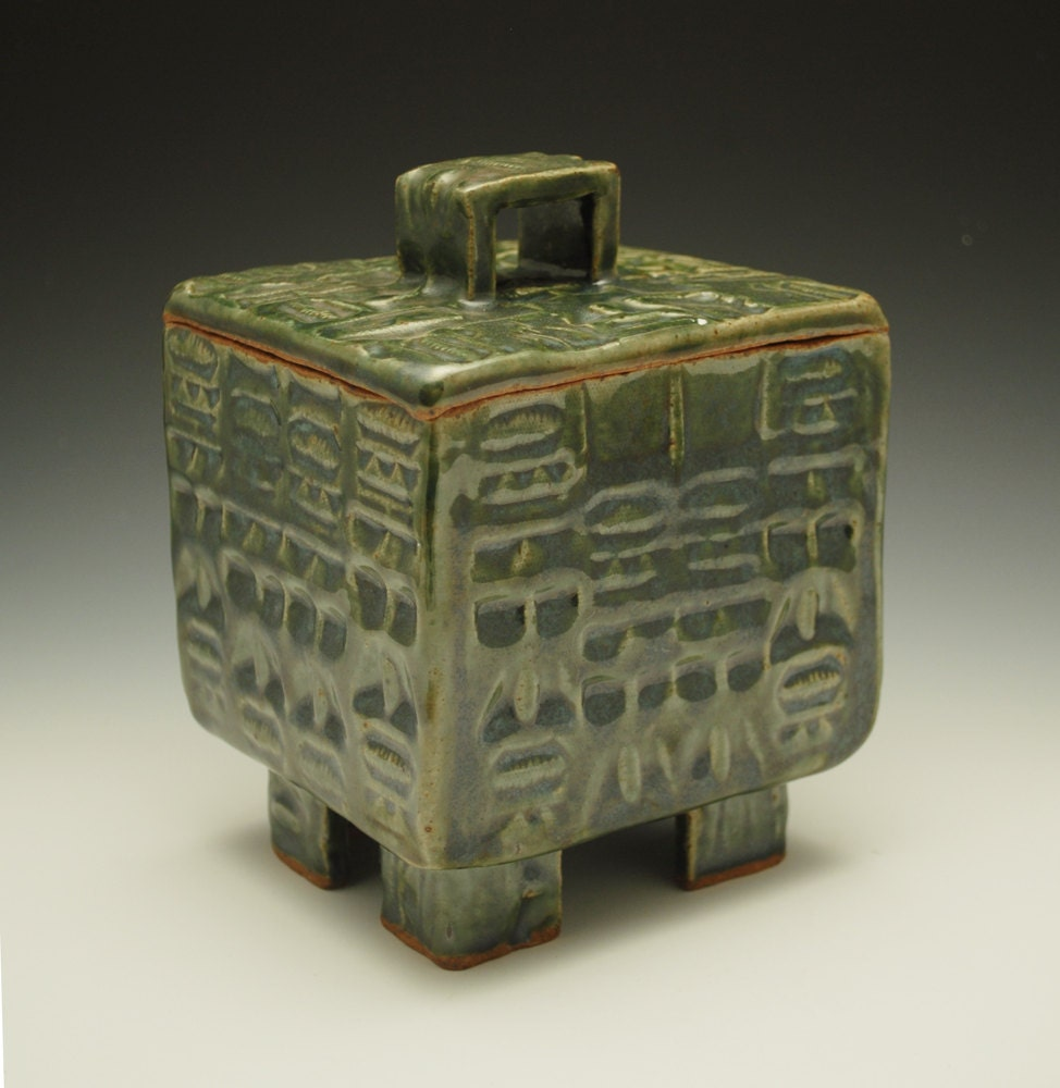 Green Lidded Ceramic Box Primitive Face Texture Stoneware