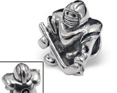 FREE BEAD--Hockey Player Charm Bead Authentic 925 Sterling Silver Fits Trollbeads Chamillia Biagi & All Popular Brands