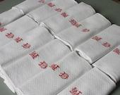 reserved for Donna thanks / elegant set of 12 damask napkins, red hand embroidered monogrammed MD