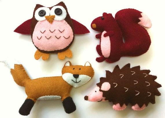 Felt Plushie Woodland Collection Handsewing Pattern PDF. INSTANT instructions to make owl, hedgehog, squirrel and fox plushies.