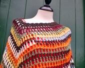 JANIS Bohemian fairy, poncho shawl in pure wool