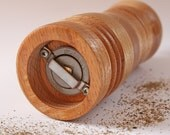 """6"""" Pepper Grinder made of Stacked and Turned Solid Oak -  Unique and Handmade - Short"""