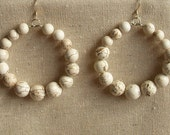 Beaded Hoop Earrings , Handmade Hoop Earrings , Gemstone Earrings , White Earrings