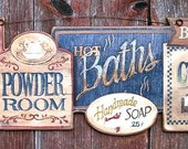 Olde Bath House , Powder Room , Hot Baths , Country Bath ,  Primitive , Plaque , Picture , Sign ,Gift , Made in USA