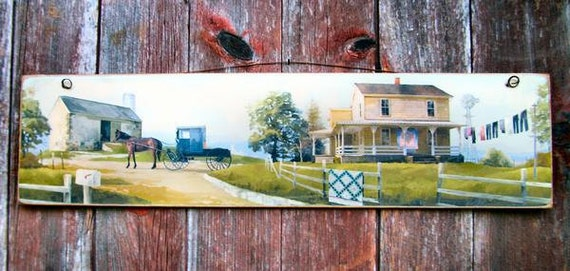 Amish Farm - Horse And Buggy - Picture - Plaque - Sign