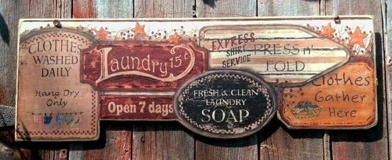 Laundry Room , Laundry Soap , Clothes Washed Daily , Press n' Fold, Clothes Gather Here, Primitive, Plaque, Picture,  Sign