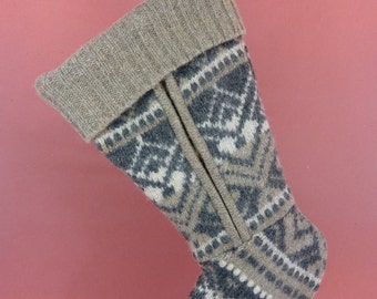 Christmas Stocking Felted Wool//White//Grey//Brown//Zipper 153