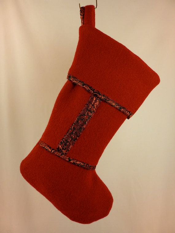Red Felted Wool Christmas Stocking with Red & Black Satin Trim 186