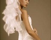 Bridal Elbow VEIL Glassy Organza Wedding Veil White