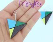 earrings polymer clay multicolored handmade triangle
