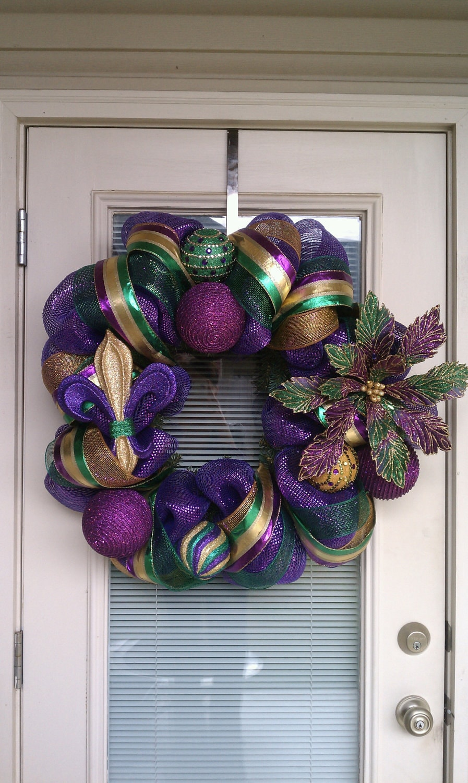 Mardi Gras Mesh Deco Wreath