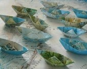 paper boat origami decoration nautical theme party maps atlas