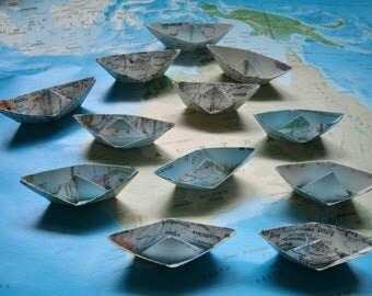 paper boat origami decoration nautical theme party maps atlas sailboat