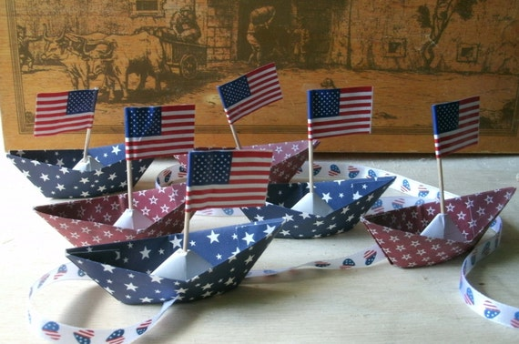 paper boat origami decoration 4th of July patriotic party barbecue celebration