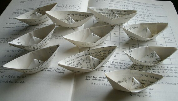 origami paper boat decoration french pages math book graduation party