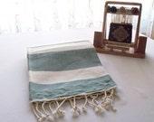 FREE SHIPPING-Turkish Hand woven-Spa,Beach,Bath,Travel Towel-Natural soft green-Cream