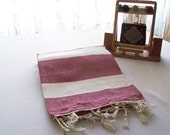 FREE SHIPPING-Turkish Hand woven-Spa,Beach,Bath,Travel Towel-Natural soft Burgundy