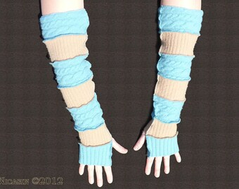 Wool Arm Warmers - Extra Long - Turquoise Cables and Tan Ribs