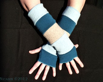 Upcycled Recycled Sweaters Wool Arm Warmers - Beige, Teal and Light Blue - Reversible