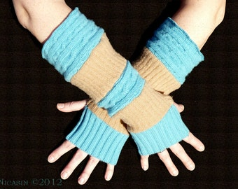 Arm Warmers Wool - Fingerless Glove - Tan Ribs and Horizontal Turquoise Cables - Reversible