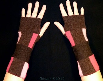 Wool Arm Warmers - Short - Brown and Pink Stripes - Reversible