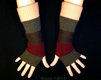 Wool Arm Warmers - Burgundy, Tan, Brown and Green - Reversible