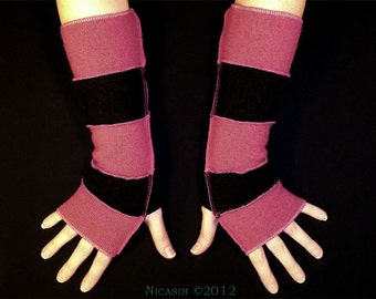 Pink and Black Wool Arm Warmers - Reversible