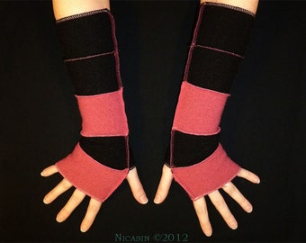 Wool Arm Warmers - Black and Pink - Reversible