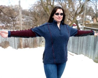 Upcycled Wool Sweater - Blue, Burgundy and Grey