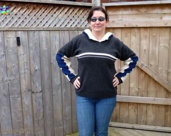 Merino Wool Sweater Hoodie Upcycled Lambswool - Grey, Ivory, Black and Blue